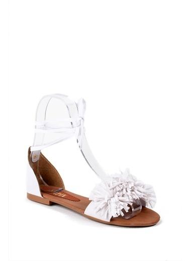 Sapin Püsküllü Sandalet Beyaz